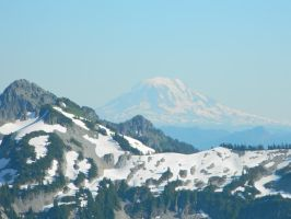 The Skyline Trail's distant view of Mount Adams by FlutterbatIsMagic