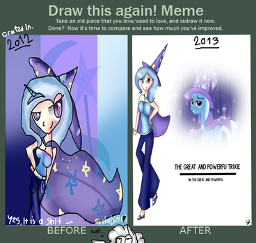 Before and After:Trixie human,V1 vs V2 by Sashapie400