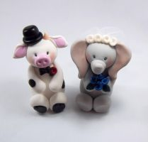 Bull and Elephant Wedding Cake Topper by HeartshapedCreations