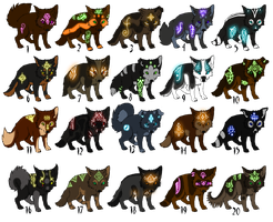 Adoptables Puppies with glowing markings (CLOSED) by TaraviAdopts
