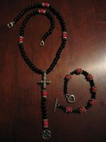 Satanic Rosary (red and black) by SigilofSulfer
