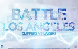 Lakers vs Clippers Battle LA Wallpaper by Angelmaker666
