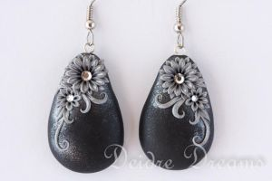 Moonlit Garden Winter Black Silver Flower Earrings by DeidreDreams