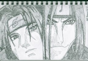 Itachi and Orochimaru by StarvingArtist64