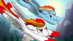 Flamerunner and Rainbow Dash by drawponies