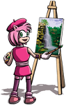 Sonic Boom: Amy Paints by DeathbyChiasmus