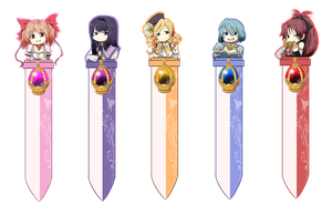 MADOKA BOOKMARKS for sale at Aki Con by haeunee2