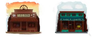 Bakery and  Saloon Concept Art by Gigi-Avila