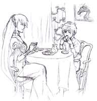 DF | Drinking tea by ShiroxCloud