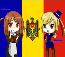 Sister Moldova and Brother Romania: APH by ImWeird4You