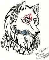 Tribal Native Wolf Head by xXxSilverXStarexXx