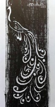Wood Engraving ( Peacock) by S-M-A-H