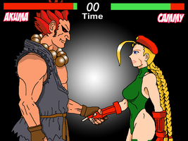 Akuma VS Cammy but he doesn't want to lose Cammy! by simpleguyfa