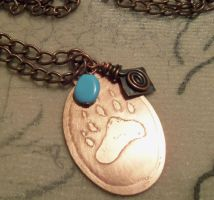 Bear paw copper and turquoise charm necklace by Destinyfall