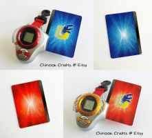 Digimon Tamers Blue and Red Cards by ChinookCrafts