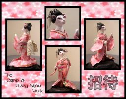 Shotai -tiny cat geisha by crokittycats