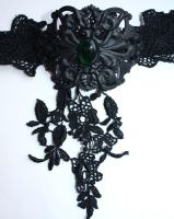 Black emerald neck corset by Pinkabsinthe
