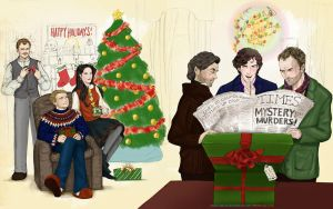 Christmas with the Holmes and Watsons by sketchditto