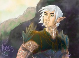 Digital Sketch - Fenris, DA2 by MackBesmirch
