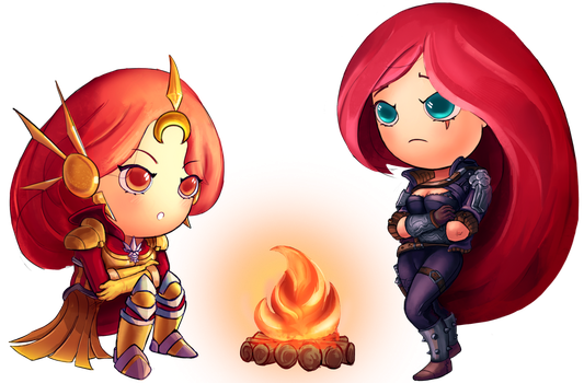 League of Legends Commission - Leona and Katarina by PedroCampello
