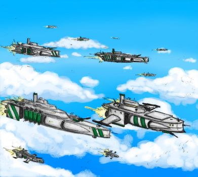 Gleaming and pure the Skyships of the Khogun by jailgurdnegative