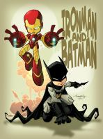 Ironman and Batman kids in colour by Red-J