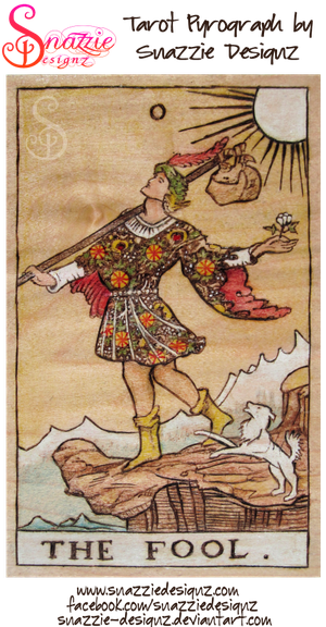 Wooden Tarot Card -  Fool Pyrograph (Wood burning) by snazzie-designz