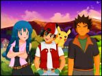 Brock, Dawn and Ash by devashri