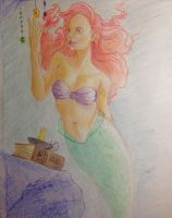 Ariel sketch with colored pencils by Nmaster94