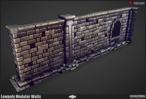 Modular Dungeon Lowpoly Walls by JeremiahBigley