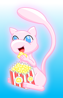 Pokemon Mew popcorn colored by MikariStar