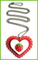 Strawberry Acrylic Necklace by cherryboop