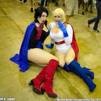 Powergirl and Dark Powergirl duo, beach babes pose by slarson802