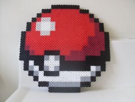 Pokemon - Large Perler Bead Pokeball by heatbish