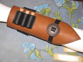 Steampunk Leather Arm Guard Cuff Bracelet with 3 S by bcainspirations