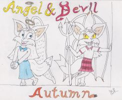 Autumn - Angel and Devil (partial Color) by Wolf-Guard