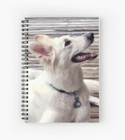 Spiral Notebook White German Shepherd Dog by lady-cybercat