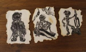 Tweedle Drawings on Burnt Paper by TheArtFrog