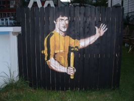 Bruce Lee Fence Painting by StanTheMan02