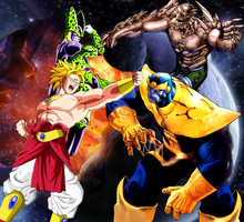 Majin Broly and Cell Vs Thanos and Doomsday by Tony-Antwonio