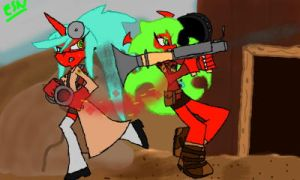 Colors! 3D: Scanty and Kneesocks a la TF2 by link2125