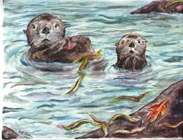 Sea Otters - Share the Sea by autumnalangel
