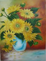Blue vessel with sunflowers by betebrito