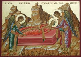 St. Catherine  being buried by the angels by logIcon