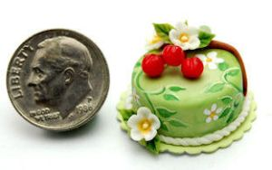CHERRY BLOSSOM CAKE FOOD by WEE-OOAK-MINIATURES