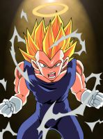 SSJ2 Vegeta Powering Up by DranzertheEternal