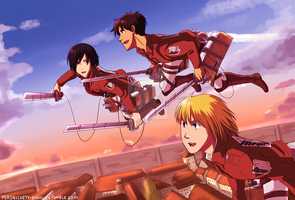 Attack on Titan- Shiganshina Trio by Perfectlykawaii93