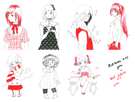 Black and Red pen sketches by tshuki