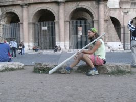 Didgeridoo in front of Colosseo by Dominik19