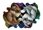 Eevee and Shiny Print by LinksEyebrows